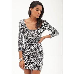 Forever 21 Black White Leopard Print Bodycon Dress